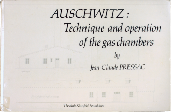 Foto eines Buchcovers mit Titel Auschwitz: Technique and operation of the gas chambers by Jean-Claude Pressac The Beate Klarsfeld Foundation