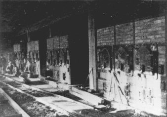 Black-and-white photograph of several oven facilities