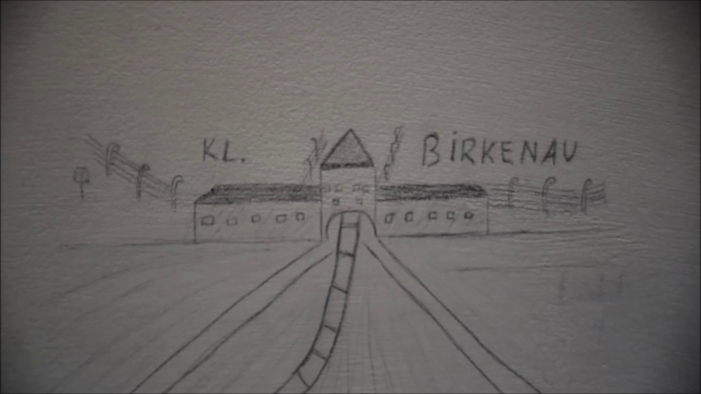 Drawing concentration camp Birkenau